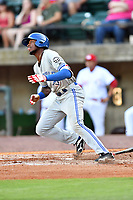 Bluefield Blue Jays designated hitter D.J. Neal (3) runs to first base during a game against the Greeneville Reds at Pioneer Park on June 30, 2018 in Greeneville, Tennessee. The Blue Jays defeated the Red 7-3. (Tony Farlow/Four Seam Images)