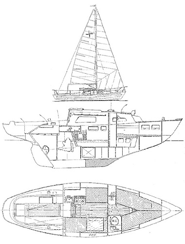 The final version of the plans for the 27ft Kerry, which made her debut by winning a design competition in Irish Yachting & Motorboating. In all, 26 were to be built, and they have included impressive ocean voyages in their extensive record of achievement