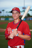 GCL Phillies center fielder Mickey Moniak (15) poses for a photo before a game against the GCL Blue Jays on August 16, 2016 at Bright House Field in Clearwater, Florida.  GCL Blue Jays defeated GCL Phillies 2-1.  (Mike Janes/Four Seam Images)