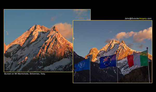 Italy, Dolomites.  <br /> A beautiful sunset of Mount Marmolada from Canazei, Italy. Now put something in front of it.<br /> Make a more unique composition by adding a foreground to a beautiful sunset. Italian and EU flags.