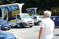 Election banners of the mayor of Rome Virginia Raggi during a picnic at Caffarella park, in occasion of the election campaign for the new mayor of the city.<br /> Rome (Italy), September 12th 2021<br /> <br /> Photo Samantha Zucchi Insidefoto