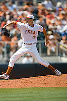 Pitcher Hoby Milner #41 of the Texas Longhorns delivers against Texas Tech on April 17, 2011 at UFCU Disch-Falk Field in Austin, Texas. (Photo by Andrew Woolley / Four Seam Images)