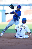 August 19,2010 Jemile Weeks (24) tags 2nd during the MiLB game between the Midland RockHounds and the Tulsa Drillers at OneOk Field in Tulsa Oklahoma.