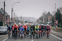 An easy start to the Spring Classics: once 4 riders were off the front, the peloton was simply 'strolling' along at a very moderate pace (less then 20km/h at 1 point)<br /> <br /> 74th Omloop Het Nieuwsblad 2019 <br /> Gent to Ninove (BEL): 200km<br /> <br /> ©kramon