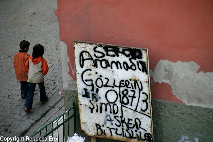 Children and grafitti, Istanbul, Turkey