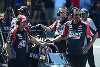 May 6, 2012; Commerce, GA, USA: NHRA crew members for top fuel dragster driver David Grubnic during the Southern Nationals at Atlanta Dragway. Mandatory Credit: Mark J. Rebilas-