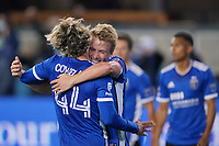 SAN JOSE, CA - MAY 1: Jackson Yueill #14 of the San Jose Earthquakes celebrates scoring with Cade Cowell #44 during a game between D.C. United and San Jose Earthquakes at PayPal Park on May 1, 2021 in San Jose, California.