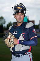 Rome Braves catcher Wigberto Nevarez (22) poses for a photo prior to the game against the Hickory Crawdads at L.P. Frans Stadium on May 12, 2016 in Hickory, North Carolina.  The Braves defeated the Crawdads 3-0.  (Brian Westerholt/Four Seam Images)