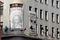 Von Anarchisten bestztes Haus am Rynek in Posnan (Posen), Woiwodschaft Großpolen (Województwo wielkopolskie), Polen Europa<br /> House occupied by anarchists at Rynek in Pozan, Poland, Europe