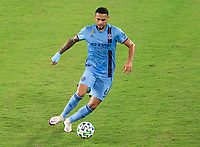 WASHINGTON, DC - SEPTEMBER 06: Alexander Callens #6 of New York City FC dribbles during a game between New York City FC and D.C. United at Audi Field on September 06, 2020 in Washington, DC.