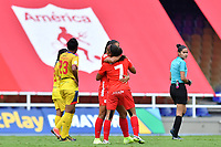 CALI – COLOMBIA, 20-11-2020: Catalina Usme del América celebra después de anotar el tercer gol de su equipo partido por la Fecha 6 de la Liga Femenina BetPlay DIMAYOR 2020 entre América de Cali y Deportivo Pasto jugado en el estadio Pascual Guerrero de la ciudad de Cali. / Catalina Usme of America celebrates after scoring the third goal of his team during match for the date 6 as part of Women's BetPlay DIMAYOR League 2020 between America de Cali and Deportivo Pasto played at Pascual Guerrero stadium in Cali city. Photos: VizzorImage / Nelson Rios / Cont /.