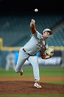 Texas Longhorns starting pitcher Bryce Elder (13) delivers a pitch to the plate against the LSU Tigers in game three of the 2020 Shriners Hospitals for Children College Classic at Minute Maid Park on February 28, 2020 in Houston, Texas. The Tigers defeated the Longhorns 4-3. (Brian Westerholt/Four Seam Images)
