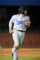 Pensacola Blue Wahoos catcher Adrian Nieto (17) runs to first base during a game against the Mobile BayBears on April 25, 2017 at Hank Aaron Stadium in Mobile, Alabama.  Mobile defeated Pensacola 3-0.  (Mike Janes/Four Seam Images)