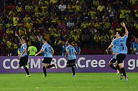 BUCARAMANGA - COLOMBIA, 09-02-2020: Jose Luis Rodriguez de Uruguay celebra después de anotar el primer gol de su equipo durante partido entre Colombia U-23 y Uruguay U-23 por el cuadrangular final como parte del torneo CONMEBOL Preolímpico Colombia 2020 jugado en el estadio Alfonso Lopez en Bucaramanga, Colombia. / Jose Luis Rodriguez of Uruguay celebrates after scoring the first goal of his team during match between Colombia U-23 and Uruguay U-23 for for the final quadrangular as part of CONMEBOL Pre-Olympic Tournament Colombia 2020 played at Alfonso Lopez stadium in Bucaramanga, Colombia. Photo: VizzorImage / Jaime Moreno / Cont