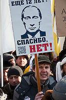 Moscow, Russia, 10/03/2012..Up to  20,000 people protest in central Moscow against Vladimir Putin's victory in the Russian presidential election.