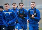 St Johnstone Training…….07.02.20<br />Matt Butcher pictured with Jamie McCart, Jason Kerr and Liam Gordon during a foggy training session at McDiarmid Park this morning ahead of tomorrows Scottish Cup game at Ayr.<br />Picture by Graeme Hart.<br />Copyright Perthshire Picture Agency<br />Tel: 01738 623350  Mobile: 07990 594431