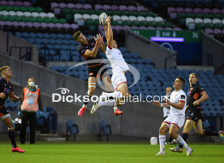 Saturday 5th September 2020 | PRO14 Semi-Final<br /> <br /> Jacob Stockdale challenges for a high ball during the Guinness PRO14 Semi-Final between Edinburgh and Ulster at the BT Murrayfield Stadium Edinburgh, Scotland. Photo by David Gibson / Dicksondigital