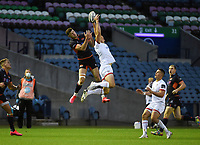 Saturday 5th September 2020   PRO14 Semi-Final<br /> <br /> Jacob Stockdale challenges for a high ball during the Guinness PRO14 Semi-Final between Edinburgh and Ulster at the BT Murrayfield Stadium Edinburgh, Scotland. Photo by David Gibson / Dicksondigital