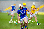 Kerry's Barry O'Mahony races ahead of Meaths Jack Regan for possession in the National hurling league in Austin Stack Park on Sunday