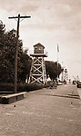 Erie PA: View of Watch Towers on the Lake Erie water front.