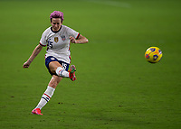 ORLANDO CITY, FL - FEBRUARY 18: Megan Rapinoe #15 takes a free kick during a game between Canada and USWNT at Exploria stadium on February 18, 2021 in Orlando City, Florida.