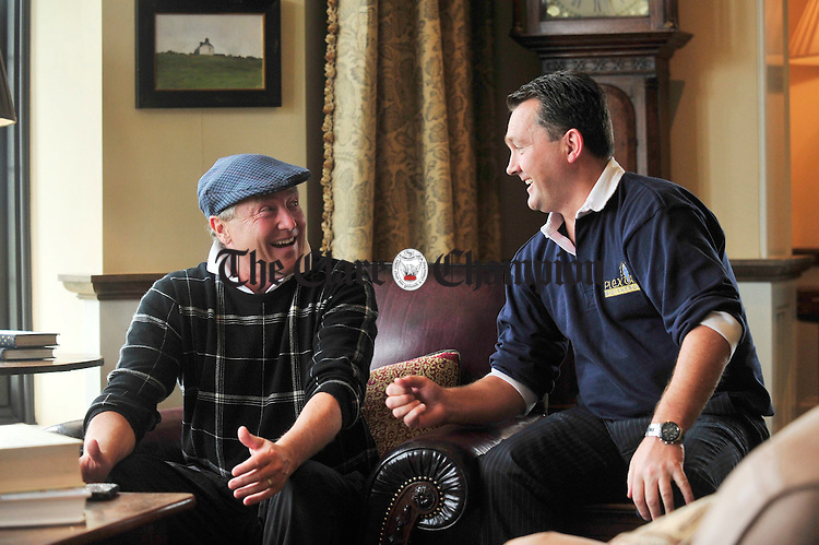 Michael Flatley pictured with founder of Plexus Heathcare Michael O' Doherty at Doonbeg Golf Club on Wednesday. Photograph by Declan Monaghan