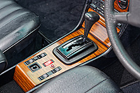 The centre concole and automatic gear lever of the Mercedes W123 series 230TE estate version, outside the Penderyn Whisky Distillery in south Wales, UK. Tuesday 19 June 2018