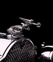 Detail of the hood ornament of a 1930 Packard.