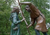 Robin Hood fights Friar Tuck in Sherwood Forest