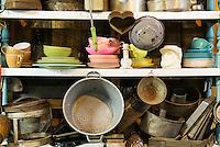 Kitchen items in a thrift shop.