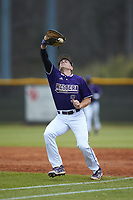 Western Carolina Catamounts first baseman Daylan Nanny (9) catches a pop fly during the game against the St. John's Red Storm at Childress Field on March 12, 2021 in Cullowhee, North Carolina. (Brian Westerholt/Four Seam Images)