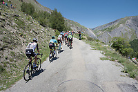 a decimated peloton moves to the highest regions of the climb up the Col de Sarenne (HC/1979m/15.3km/6,9%)<br /> <br /> <br /> stage 7: Aoste > Alpe d'Huez (168km)<br /> 69th Critérium du Dauphiné 2017