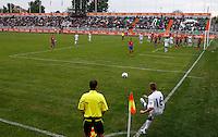 Alex Henshall (R) takes a corner kick during the UEFA U-17 championship Group A match between England and Serbia on May 9, 2011 in Indjija, Serbia (Photo by Srdjan Stevanovic/Starsportphoto.com)