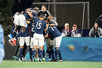 FOXBOROUGH, MA - SEPTEMBER 29: New England celebrate their goal during a game between New York City FC and New England Revolution at Gillettes Stadium on September 29, 2019 in Foxborough, Massachusetts.
