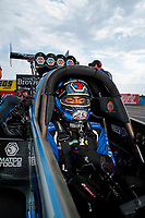 Sep 1, 2019; Clermont, IN, USA; NHRA top fuel driver Antron Brown during qualifying for the US Nationals at Lucas Oil Raceway. Mandatory Credit: Mark J. Rebilas-USA TODAY Sports