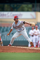 Clearwater Threshers pitcher Kyle Arjona (23) during a Florida State League game against the Palm Beach Cardinals on August 11, 2019 at Roger Dean Chevrolet Stadium in Jupiter, Florida.  Palm Beach defeated Clearwater 4-1.  (Mike Janes/Four Seam Images)