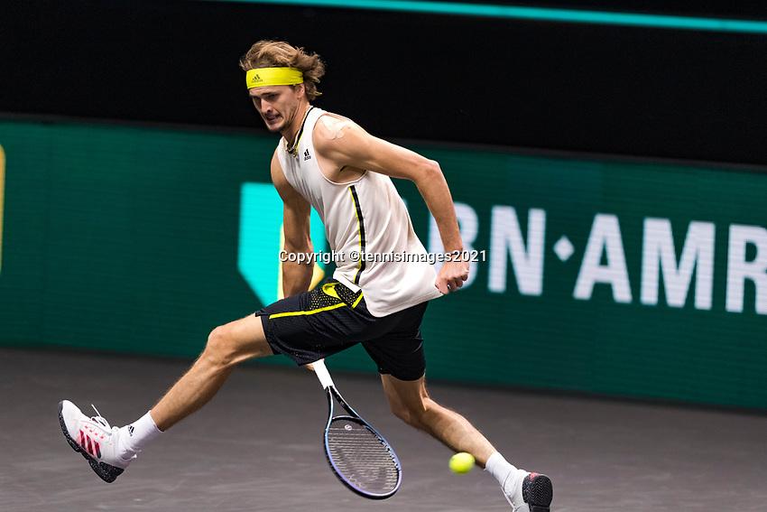Rotterdam, The Netherlands, 3 march  2021, ABNAMRO World Tennis Tournament, Ahoy, First round match: Alexander Zverev (GER).<br /> Photo: www.tennisimages.com/henkkoster