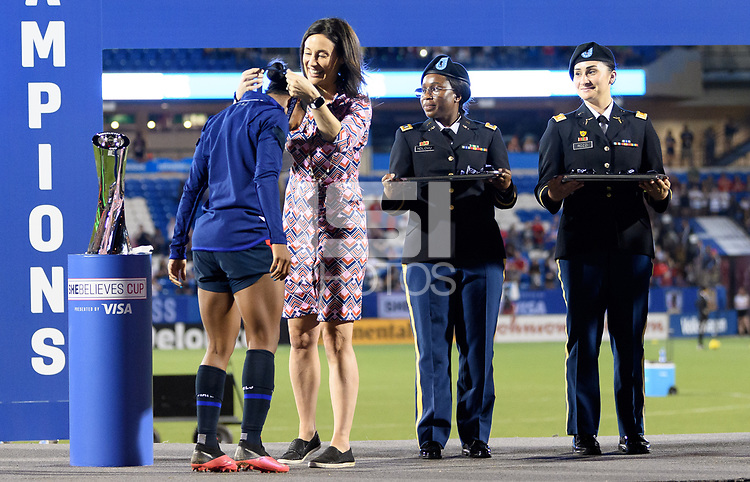 FRISCO, TX - MARCH 11: Crystal Dunn #19 of the United States receives her medal during a game between Japan and USWNT at Toyota Stadium on March 11, 2020 in Frisco, Texas.