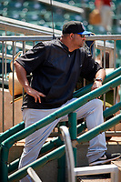 Biloxi Shuckers pitching coach David Chavarria (50) in the dugout during a game against the Montgomery Biscuits on May 8, 2018 at Montgomery Riverwalk Stadium in Montgomery, Alabama.  Montgomery defeated Biloxi 10-5.  (Mike Janes/Four Seam Images)