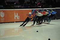 SPEEDSKATING: DORDRECHT: 05-03-2021, ISU World Short Track Speedskating Championships, Heats 1000m Men, Sjinkie Knegt (NED), Shaoang Liu (HUN), Mikita Mihdaliou (BLR), ©photo Martin de Jong