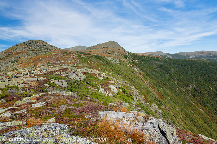 Mount Monroe with Mount Washington in the background from the Appalachian Trail (Crawford Path) in Sargent's Purchase, New Hampshire during the last days of summer. Mount Monroe is named for James Monroe, the fifth President of the United States.