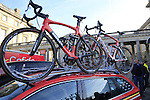 Lotto-Soudal team Ridley bikes on the team car at sign on before the start of the 113th edition of the Paris-Roubaix 2015 cycle race held over the cobbled roads of Northern France. 12th April 2015.<br /> Photo: Eoin Clarke www.newsfile.ie