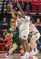COLLEGE PARK, MD - FEBRUARY 03: Ashley Owusu #15 and Stephanie Jones #24 of Maryland shut down Taryn McCutcheon #4 of Michigan State during a game between Michigan State and Maryland at Xfinity Center on February 03, 2020 in College Park, Maryland.