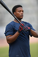 Center fielder Jeremy Fernandez (12) of the Rome Braves takes batting practice before a game against the Columbia Fireflies on Tuesday, June 4, 2019, at Segra Park in Columbia, South Carolina. Columbia won, 3-2. (Tom Priddy/Four Seam Images)