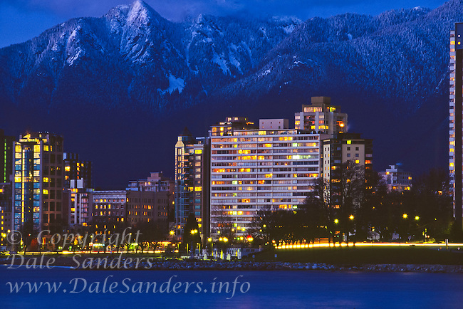 North shore Mountains and West End at dusk, Vancouver, British Columbia, Canada.