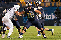 Pitt offensive guard Connor Dintino (76) pass blocks for quarterback Kenny Pickett. The Penn State Nittany Lions defeated the Pitt Panthers 51-6 on September 08, 2018 at Heinz Field in Pittsburgh, Pennsylvania.