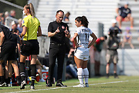 CARY, NC - SEPTEMBER 12: Head coach Mark Parsons of the Portland Thorns FC gives instructions to Rocky Rodriguez #11 during a game between Portland Thorns FC and North Carolina Courage at Sahlen's Stadium at WakeMed Soccer Park on September 12, 2021 in Cary, North Carolina.