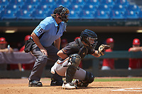 Catcher Jaime Ferrer (22) of TNXL Academy in Saint Cloud, FL playing for the San Francisco Giants scout team sets a target as home plate umpire Lance Weems during the East Coast Pro Showcase at the Hoover Met Complex on August 5, 2020 in Hoover, AL. (Brian Westerholt/Four Seam Images)