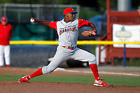 Williamsport Crosscutters pitcher Perci Garner #33 during the first game of a doubleheader against the Batavia Muckdogs at Dwyer Stadium on August 23, 2011 in Batavia, New York.  Batavia defeated Williamsport 2-1.  (Mike Janes/Four Seam Images)