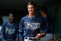 Tampa Bay Rays designated hitter Joshua Lowe (18) in the dugout during an Instructional League game against the Baltimore Orioles on September 19, 2016 at Ed Smith Stadium in Sarasota, Florida.  (Mike Janes/Four Seam Images)